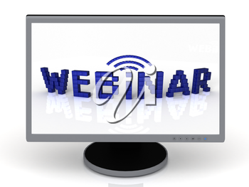 Webinar of blue cubes on a computer monitor