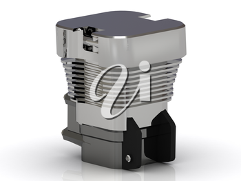 One cylinder of motorcycle chrome steel on a white background