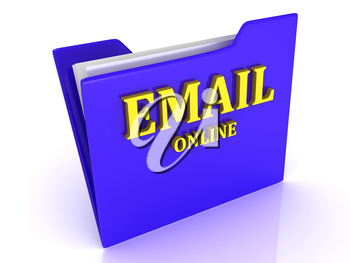 EMAIL Online bright yellow letters on a blue folder on a white background