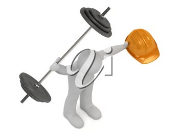 strong 3d man keeps one hand greater barbell and in other hand he keeps orange building helmet