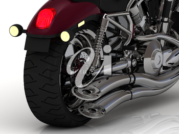 Motorcycle with exhaust view back on white background