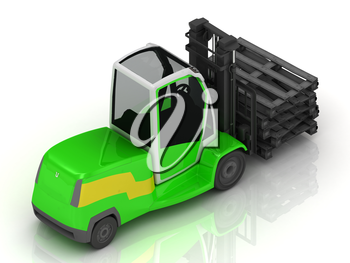 Electric green Forklift isolated on a white background. Top view