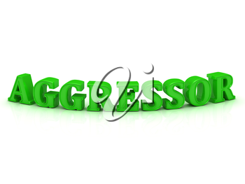 AGGRESSOR- inscription of bright green letters on white background