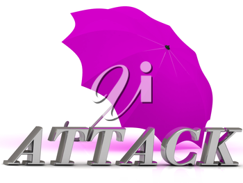 ATTACK- inscription of silver letters and umbrella on white background