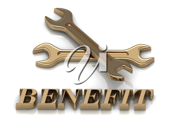 BENEFIT- inscription of metal letters and 2 keys on white background