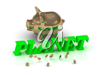 PLANET- inscription of green letters and gold Piggy on white background