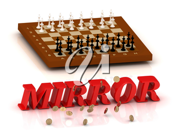 MIRROR- inscription of color letters and chess on white background