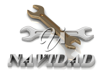 NAVIDAD- inscription of metal letters and 2 keys on white background