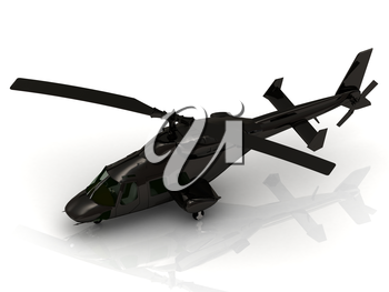 Military helicopter landing on white background