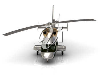 Front view of Silver helicopter in flight. Fly over the snow
