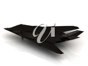 Military black airplane on white background