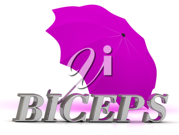 BICEPS- inscription of silver letters and umbrella on white background