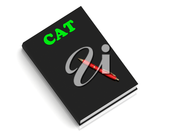 CAT- inscription of green letters on black book on white background