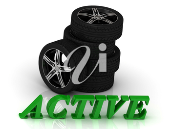 ACTIVE- bright letters and rims mashine black wheels on a white background