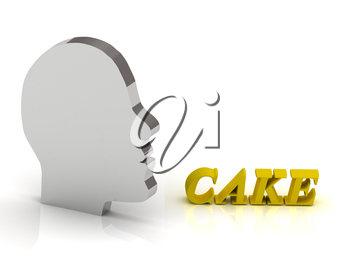 CAKE - bright color letters and silver head mind on a white background
