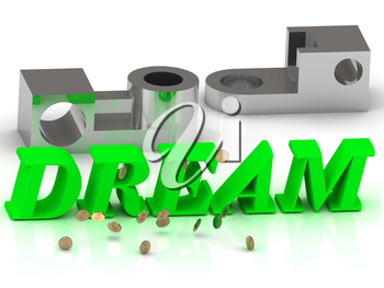 DREAM- words of color letters and silver details on white background