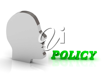 POLICY2 - bright color letters and silver head mind on a white background