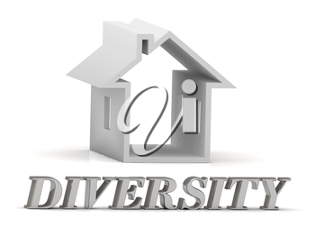 DIVERSITY- inscription of silver letters and white house on white background