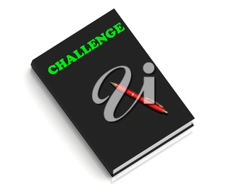 CHALLENGE- inscription of green letters on black book on white background