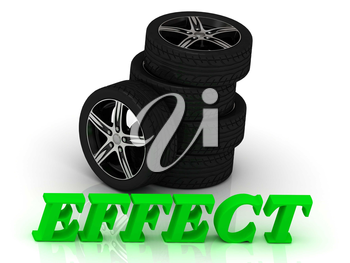 EFFECT- bright letters and rims mashine black wheels on a white background