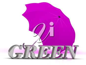GREEN- inscription of silver letters and umbrella on white background