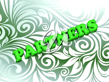 PARTNERS- bright color letters on nice green ornament background