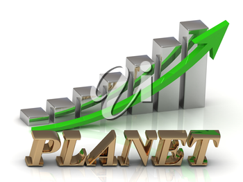 PLANET- inscription of gold letters and Graphic growth and gold arrows on white background