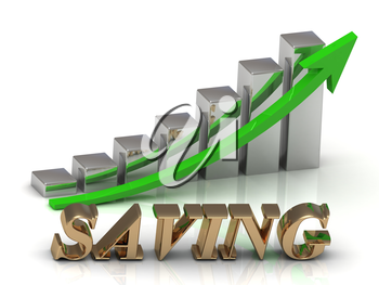 SAVING- inscription of gold letters and Graphic growth and gold arrows on white background
