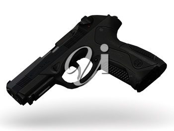 gun with pimply handle falling midair on white background