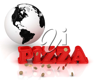 PIZZA bright color letters, black and white Earth on a white background