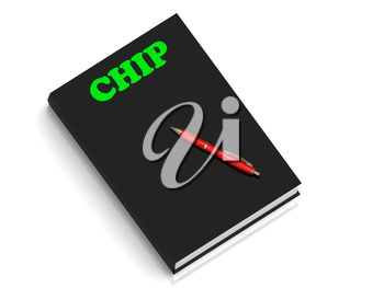 CHIP- inscription of green letters on black book on white background
