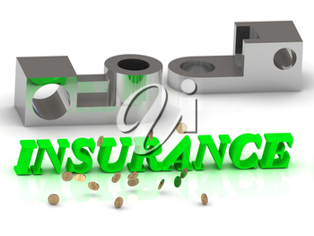 INSURANCE- words of color letters and silver details on white background