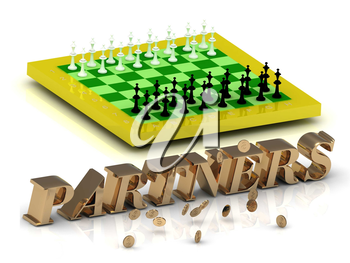 PARTNERS- bright gold letters money and yellow chess on white background