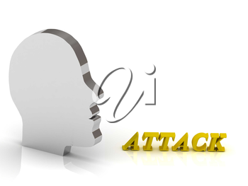 ATTACK bright color letters and silver head mind on a white background