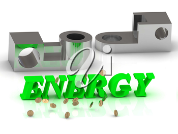 ENERGY- words of color letters and silver details on white background