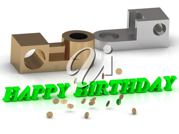 HAPPY BIRTHDAY - words of color letters and silver details and bronze details on white background