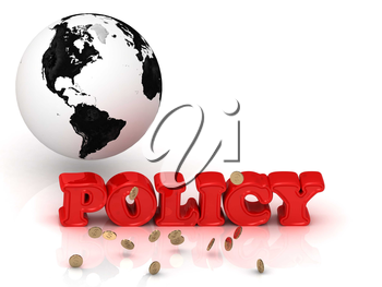 POLICY bright color letters, black and white Earth on a white background