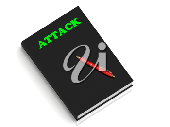 ATTACK- inscription of green letters on black book on white background