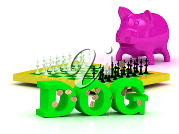 DOG bright word, money, pink piggy, yellow chess on white background