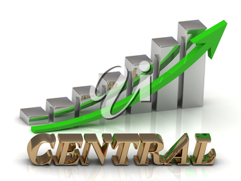 CENTRAL- inscription of gold letters and Graphic growth and gold arrows on white background