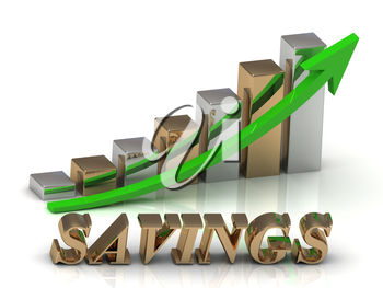 SAVINGS- inscription of gold letters and Graphic growth and gold arrows on white background