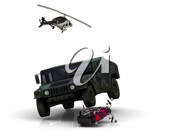 Video removal with Journalist of the helicopter: heavy army jeep has approached wheel on bright civil motorcycle