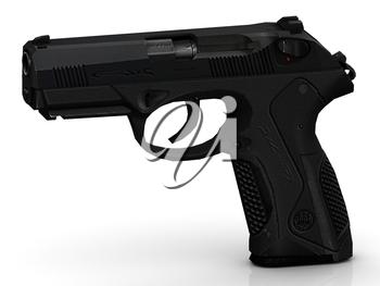 Neat Black modern gun with pimply handle on white background