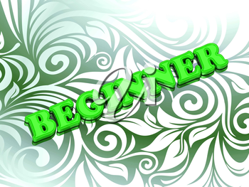 BEGINNER - bright color letters on nice green ornament background