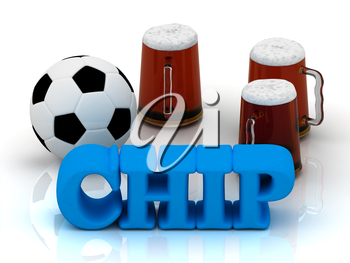 CHIP blue bright word, football, 3 cup beer on white background