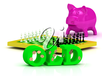 OLD bright word, money, pink piggy, yellow chess on white background
