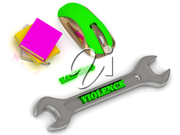 VIOLENCE bright volume letter on silver instrument, textbooks and computer mouse on white background