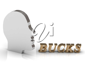 BUCKS bright color letters and silver head mind on a white background