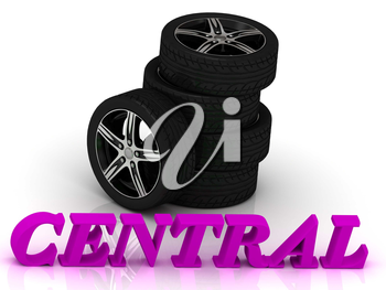 CENTRAL- bright letters and rims mashine black wheels on a white background