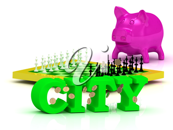 CITY bright word, money, pink piggy, yellow chess on white background